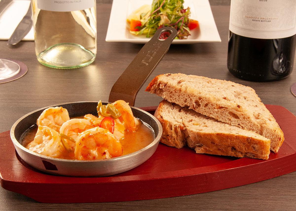 prawn sizzler crusty bread